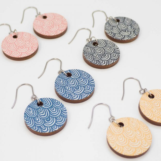 Scandinavian Design circle earrings in three colours