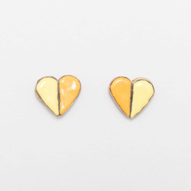 Wooden Enamel Heart Earrings Yellow Unique Ella Jewellery Scandi Design