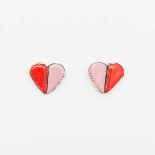 Wooden Enamel Heart Earrings Red Unique Ella Jewellery Scandi Design