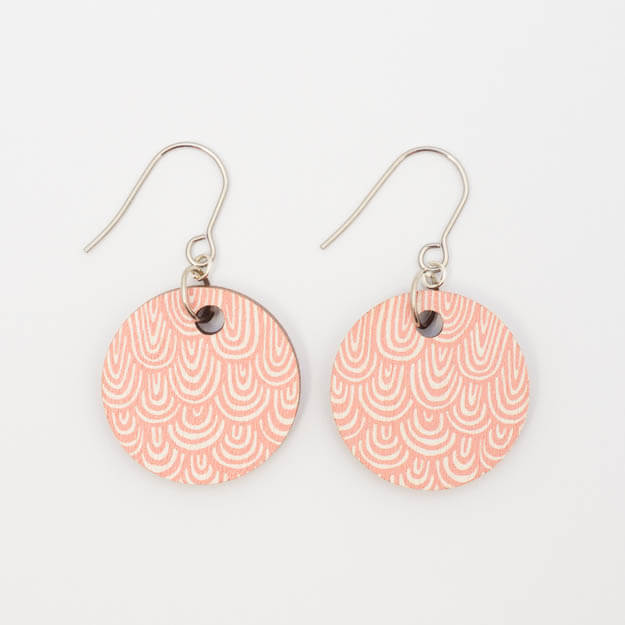 Wooden Wave Design Drop Earrings in Rosa Unique Ella Jewellery