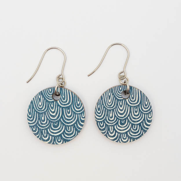 Wooden Wave Design Drop Earrings in Blue Unique Ella Jewellery