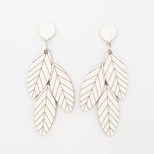Wooden Rowan Design Stud Earrings in White Unique Ella Jewellery