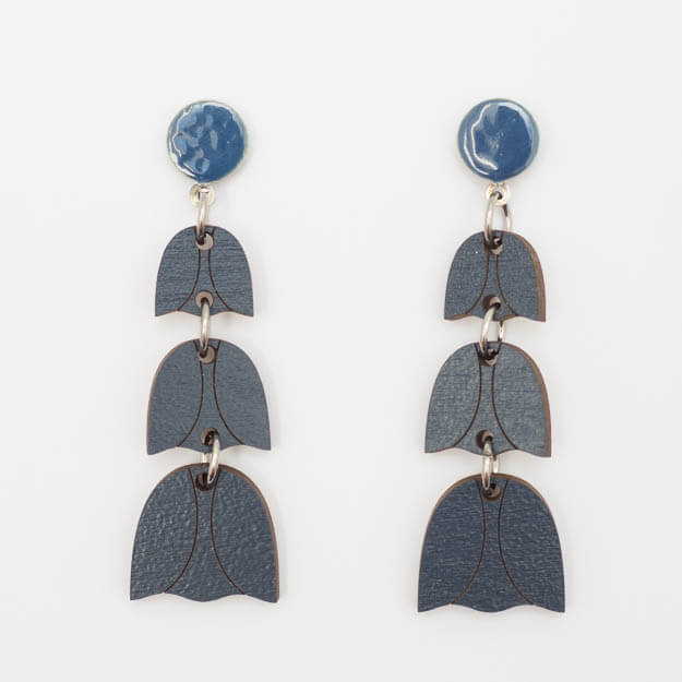 Wooden Bluebell Design Stud Earrings in Blue Unique Ella Jewellery