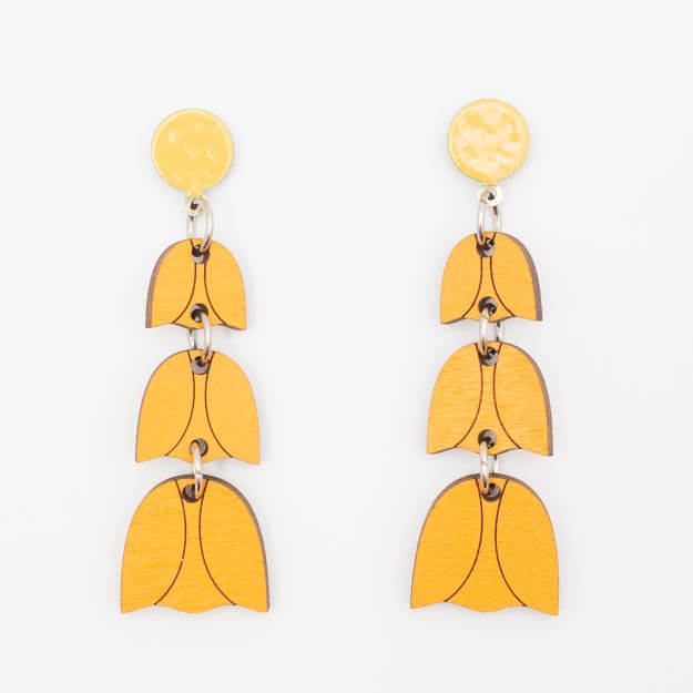 Wooden Bluebell Design Stud Earrings in Orange Unique Ella Jewellery
