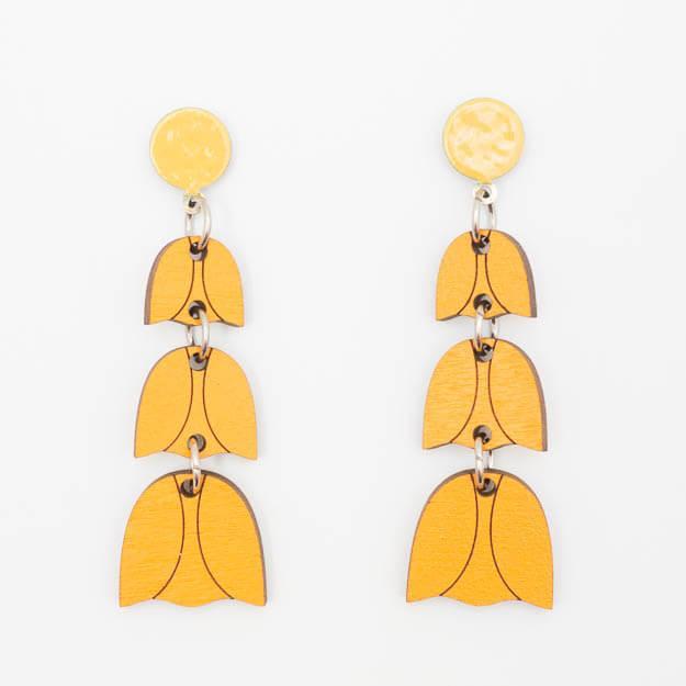Wooden Bluebell Design Stud Earrings in Orange Unique Ella Jewellery