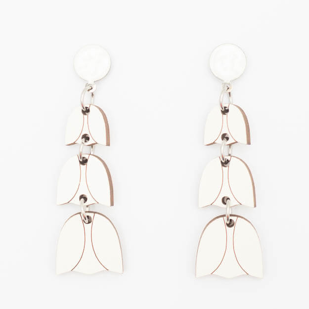 Wooden Bluebell Design Stud Earrings in White Unique Ella Jewellery
