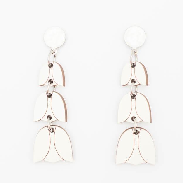 Wooden Bluebell Design Stud Earrings in White Unique Ella Jewellery