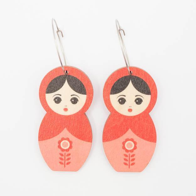 Wooden Matryoshka Design Hoop Earrings in Red Unique Ella Jewellery