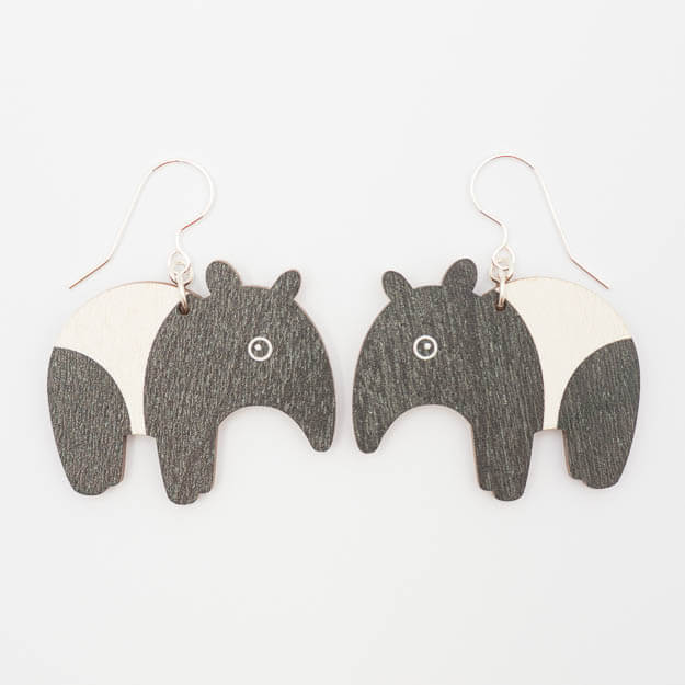Wooden Tapir Design Hook Earrings in Black/White Unique Ella Jewellery