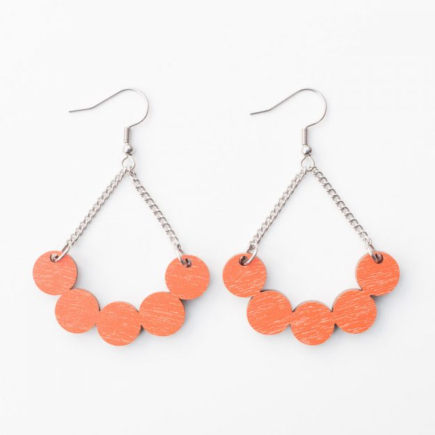 Wooden Little Rowan Earrings in Orange at Unique Ella Jewellery Shop