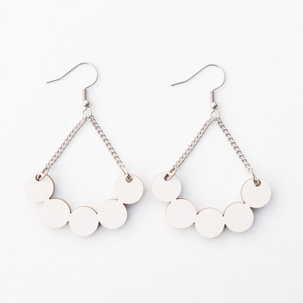 Wooden Little Rowan Earrings in White at Unique Ella Jewellery Shop