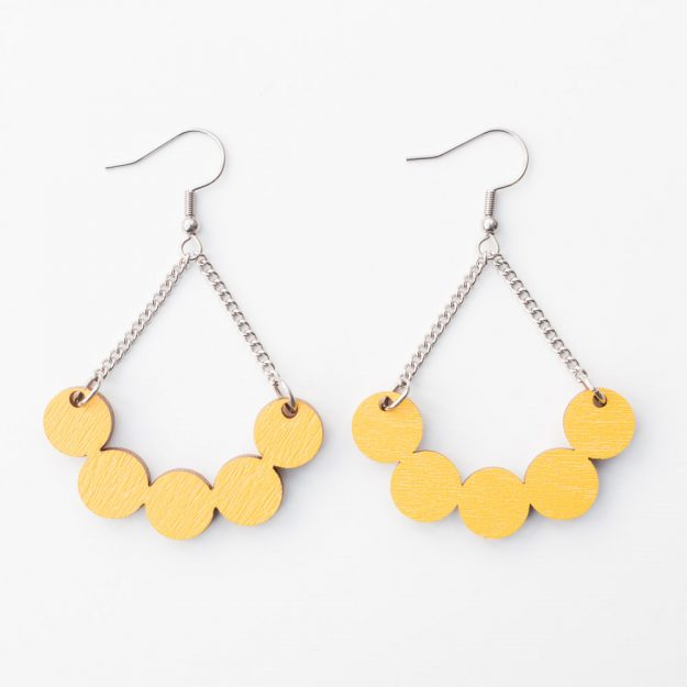 Sustainable Wooden Little Rowan Earrings in Yellow at Unique Ella Jewellery Shop