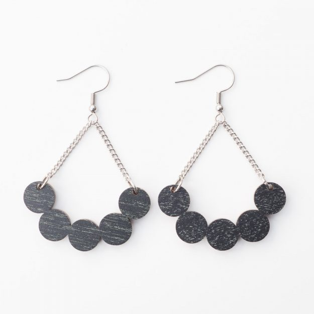 Sustainable Wooden Little Rowan Earrings in Black at Unique Ella Jewellery Shop