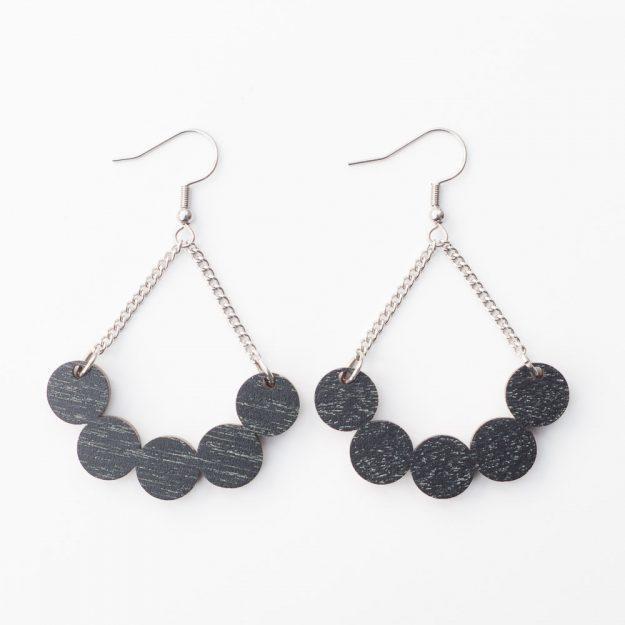 Sustainable Wooden Little Rowan Earrings in Black at Unique Ella Jewellery Shop