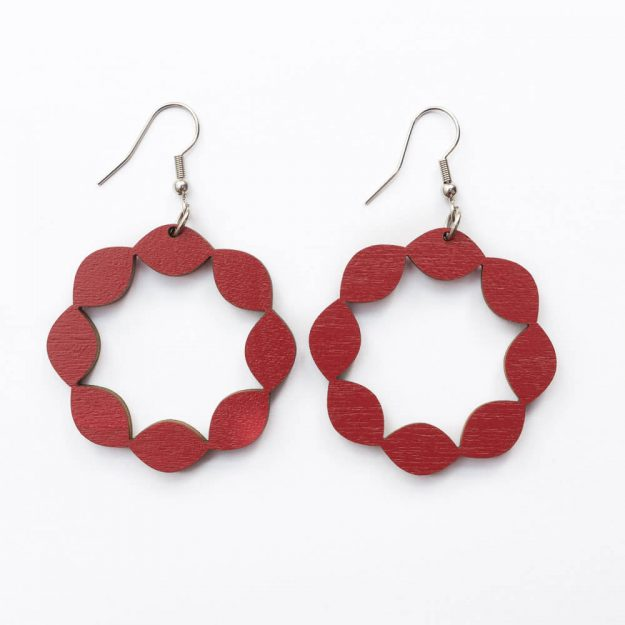 Wooden Sweetie Design Drop Earrings in Red Unique Ella Jewellery