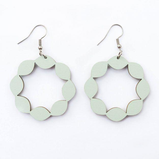 Wooden Sweetie Design Drop Earrings in Mint Unique Ella Jewellery