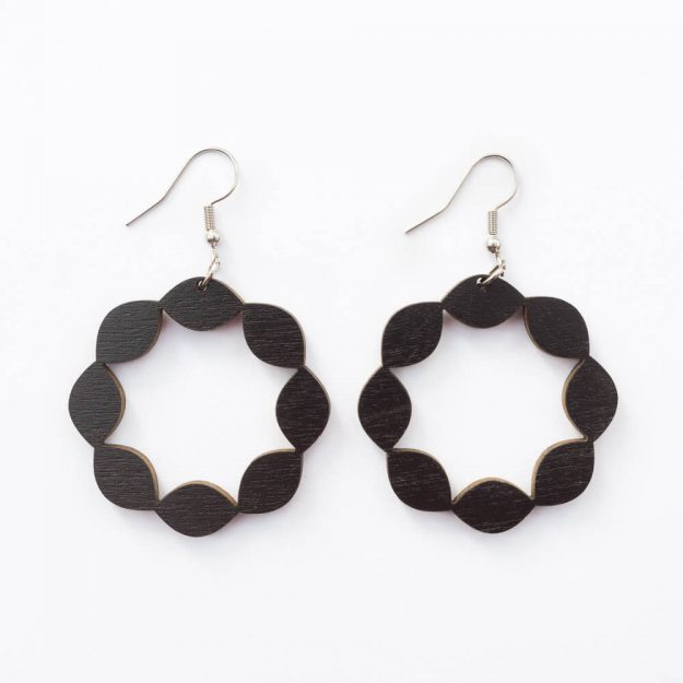 Wooden Sweetie Design Drop Earrings in Black Unique Ella Jewellery