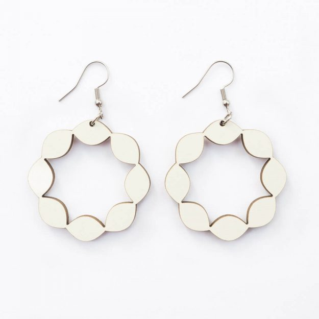 Wooden Sweetie Design Drop Earrings in White Unique Ella Jewellery