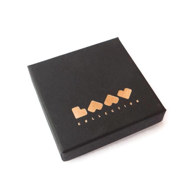 Laav collection earrings eco-friendly gift box in black