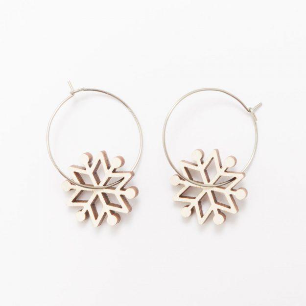 Wooden Kuura Snowflake Earrings Unique Ella Jewellery Scandi Design