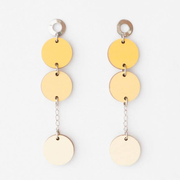 Wooden Circle Ilta Earrings Yellow Unique Ella Design Sustainable Jewellery