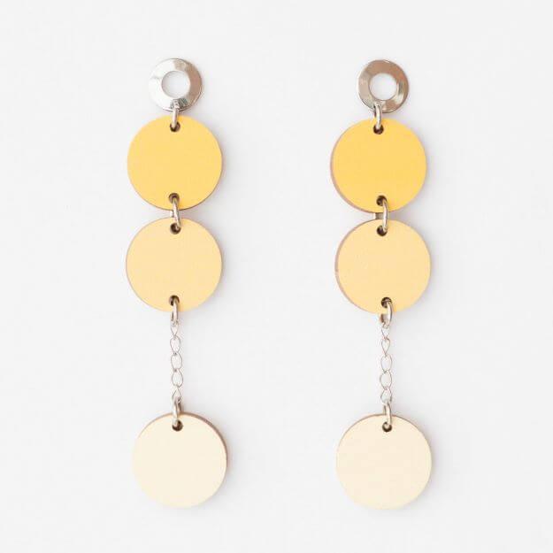 Wooden Circle Ilta Earrings Yellow Unique Ella Design Sustainable Jewellery