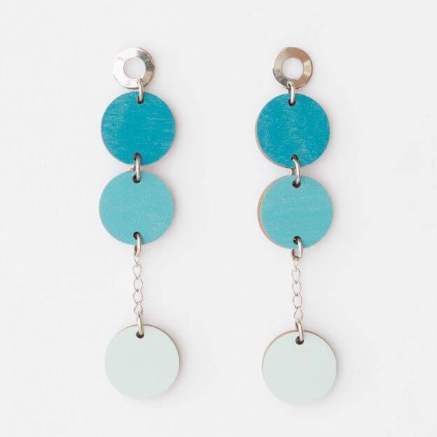Wooden Circle Ilta Earrings Teal Unique Ella Design Sustainable Jewellery