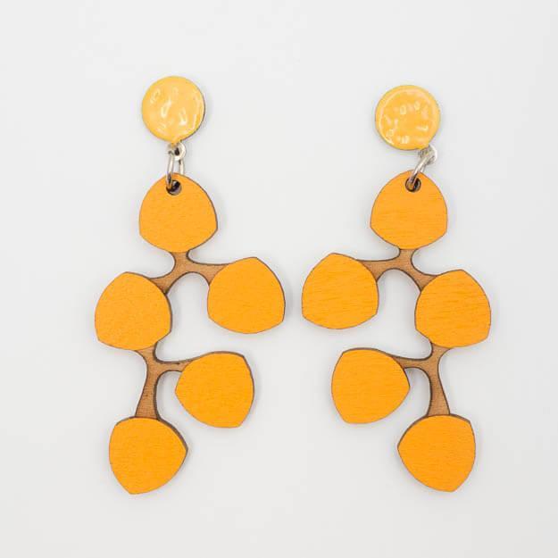 Wooden Snowberry Design Stud Earrings in Yellow Unique Ella Jewellery