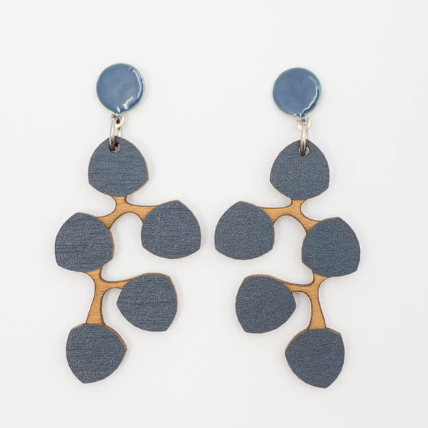 Wooden Snowberry Design Stud Earrings in Blue Unique Ella Jewellery
