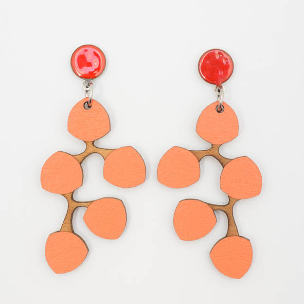 Wooden Snowberry Design Stud Earrings in Coral Unique Ella Jewellery