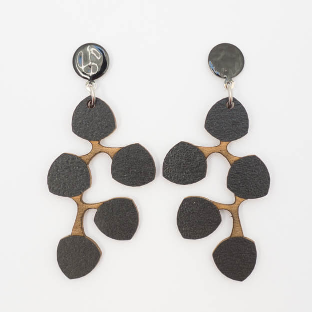 Wooden Snowberry Design Stud Earrings in Black Unique Ella Jewellery