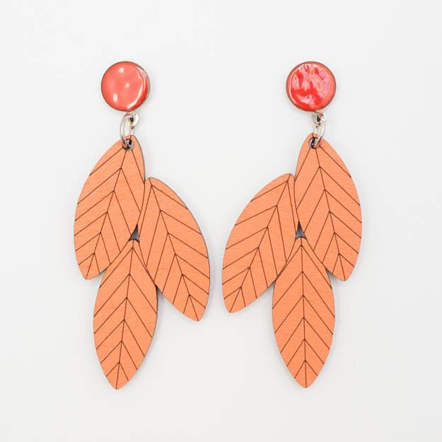 Wooden Rowan Design Stud Earrings in Coral Unique Ella Jewellery