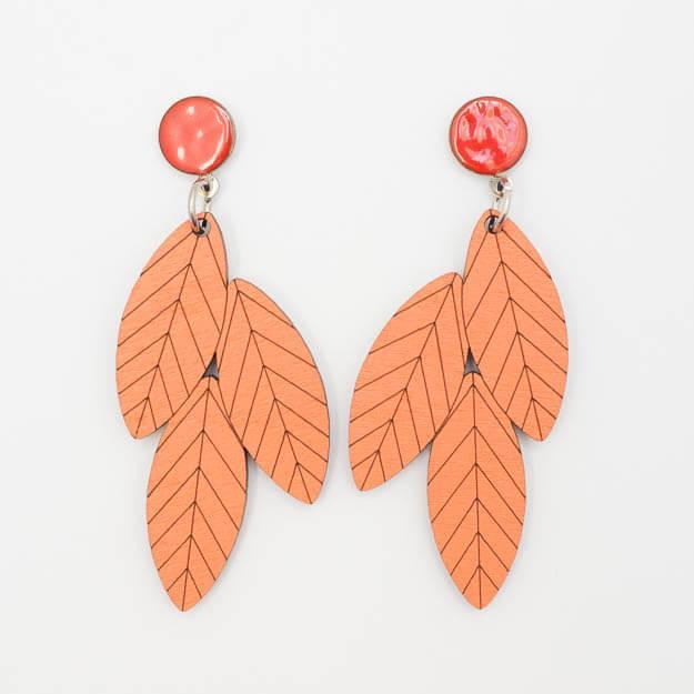 Wooden Rowan Design Stud Earrings in Coral Unique Ella Jewellery