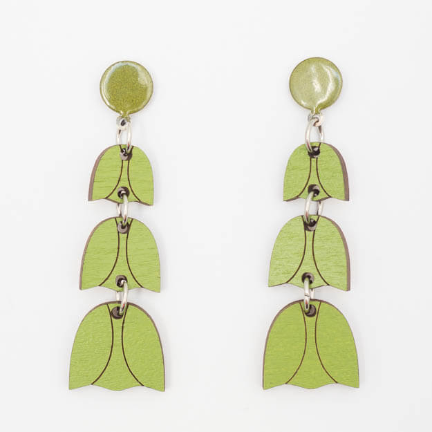 Wooden Bluebell Design Stud Earrings in Green Unique Ella Jewellery