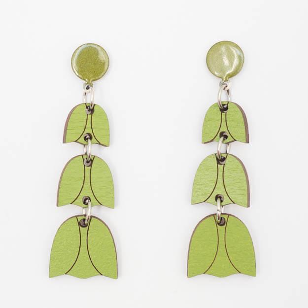 Wooden Bluebell Design Stud Earrings in Green Unique Ella Jewellery