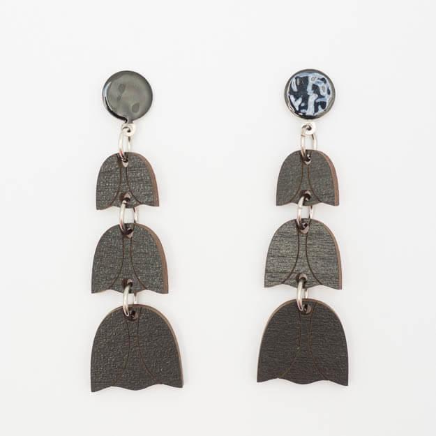 Wooden Bluebell Design Stud Earrings in Black Unique Ella Jewellery