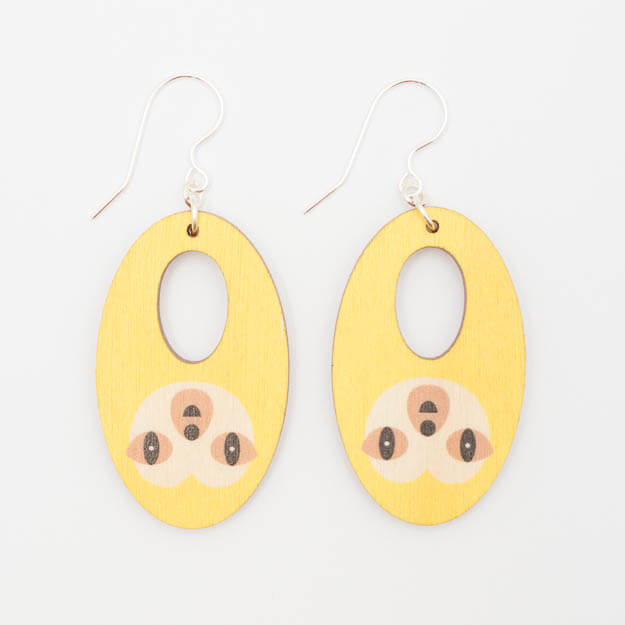Wooden Sloth Design Hook Earrings in Yellow Unique Ella Jewellery