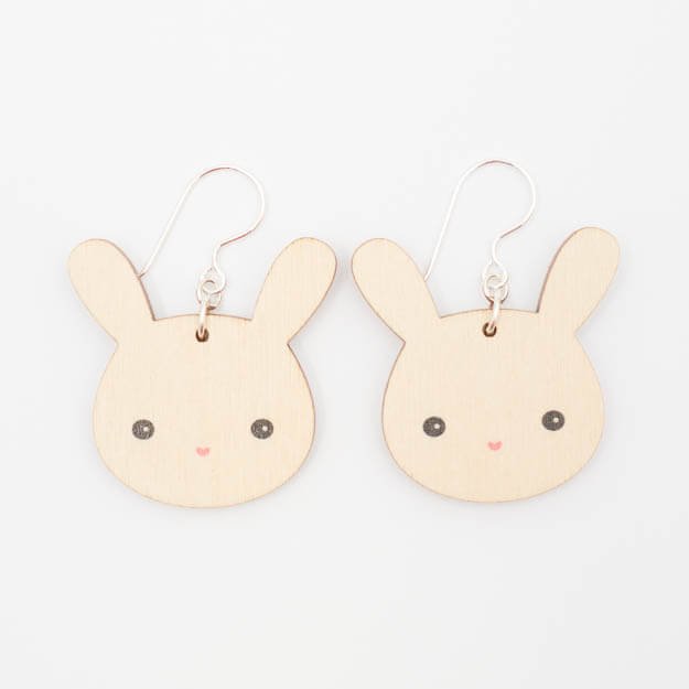 Wooden Bunny Design Hook Earrings Unique Ella Jewellery