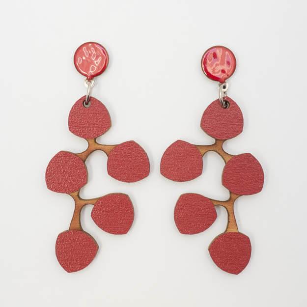 Wooden Snowberry Design Stud Earrings in Red Unique Ella Jewellery