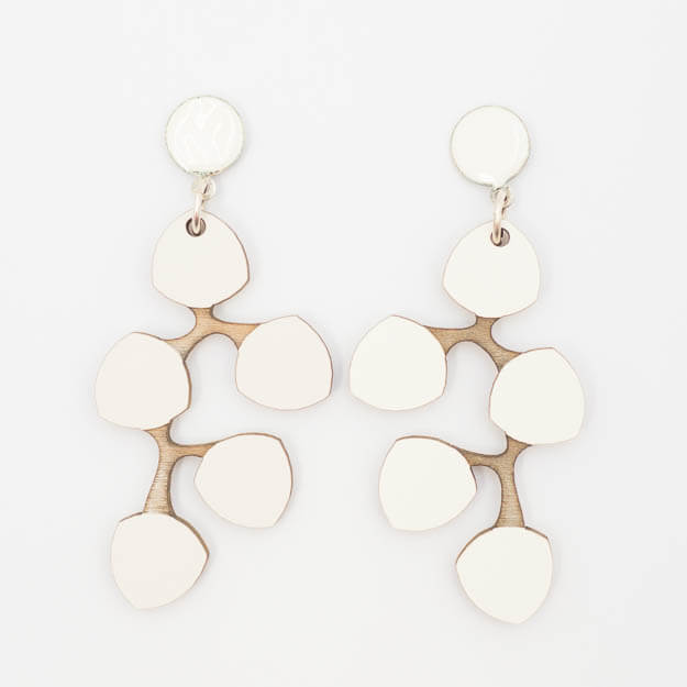 Wooden Snowberry Design Stud Earrings in White Unique Ella Jewellery