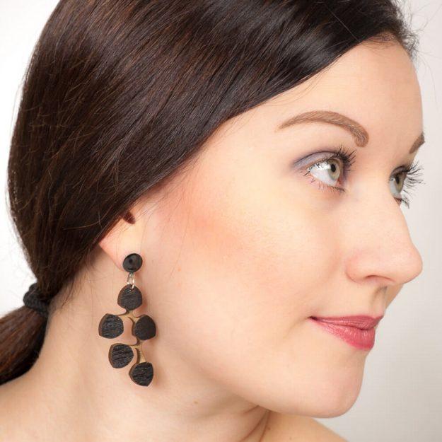 Woman wearing black Snowberry earrings