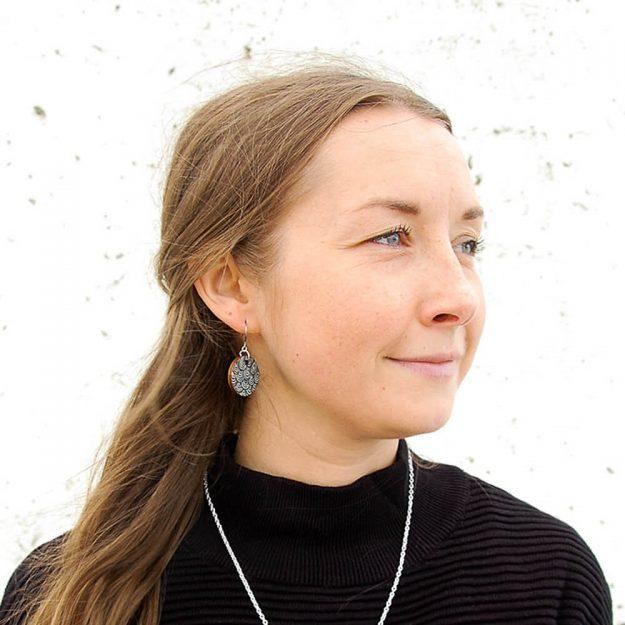 Wooden Wave Design Drop Earrings in Unique Ella Jewellery