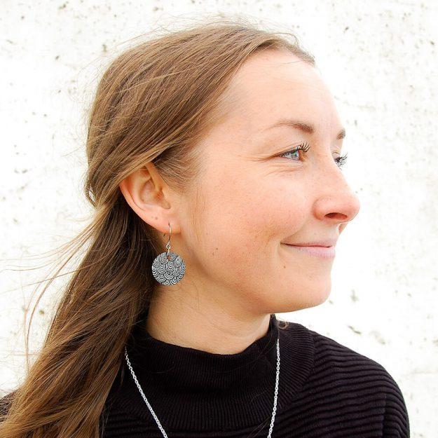 Wooden Bud Design Drop Earrings in Blue Unique Ella Jewellery